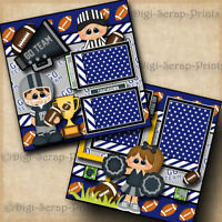FOOTBALL ~ GO TEAM sports boy 2 premade scrapbook pages paper layout ~ DIGISCRAP
