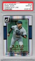 "2014 Donruss Career Stat Line #318 "" Derek Jeter "" PSA 10 {HOF 2020 99.7%} Hot!"
