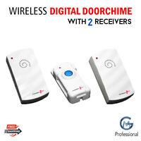 Wireless Door Bell Home Cordless Doorbell Chime Kit 2 Receiver 100m Range 24Tune