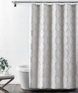 """Croscill Gwynn Fabric Shower Curtain 72x72"""" Silver Gray Lattice Bath Guestroom"""