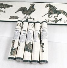 York Wallpaper Border Weathervane Fish Rooster Horse Green Gold Country 5 Rolls