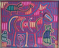 Vintage Framed Hand Sewn/Designed Fabric Mola - Kuna Indians Panama