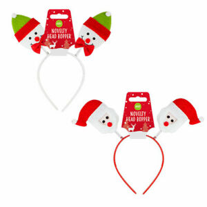 christmas novelty deeley boppers party headgear choice santa or snowman
