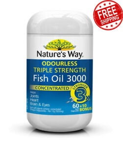 Nature's Way Fish Oil Triple Strength Fish Oil 60+10 Capsules for Brain and Eyes