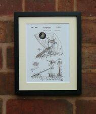 USA Patent Drawing vintage BASS DRUM BEATER music tool MOUNTED PRINT 1938 Xmas