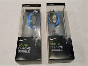 SALE! SALE! 2 PAIR New Nike Youth Swimming Goggles Chrome Training Anti-Fog ga