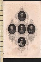 C1830 Georgiano Stampa ~ Sir R. Sale J.Littler Lord Gough Hardinge Sir H.Smith