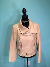 New Port News Cream Leather Biker Style Jacket Size 12