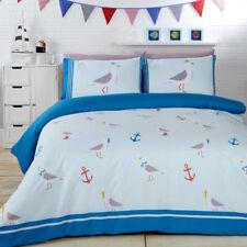 Nautical Beach Theme Anchors Seagulls Blue Reversible Single Duvet Set