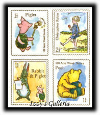 Vintage Classic Pooh Piglet Christopher Rabbit Stamp Postage Stickers Michel &Co