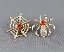 Spider web earrings Gold Orange halloween earrings stud post earrings