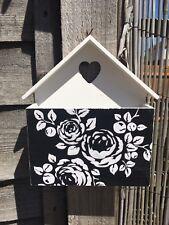 Shabby Chic Wooden Letter Rack Post Holder Organizer Black & White