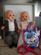 Lot poupées poupons baby born zaff création vêtements de mariée + sac disney