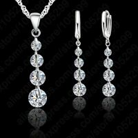 """925 Sterling Silver Crystal Necklace & Earrings Set  18"""""""