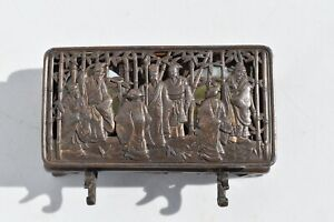ANTIQUE ORNATE CHINESE SPELTER INKWELL DEPICTS SCHOLARS  IN A BAMBOO FOREST