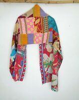Vintage Kantha Scarf Cotton Sari Stole Women Shawl Hand Stitch Embroidered SL47