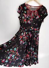 MAIOCCHI stunning Black Floral Neckline Detail A Like dress Size 14