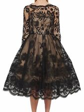 ONE of a KIND MAGNIFICENT 2die4 Oscar De La Renta BLACK lace scalloped dress