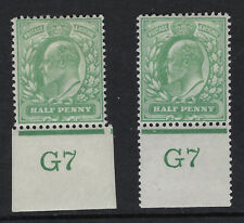 GB :ED VII 1/2d yellow- green control G7 IMPERFORATE+PERFORATED  margins mint