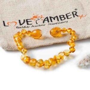 Boys Girls Polished Lemon Baltic Amber Child Anklet Love Amber x UK Goldirocks