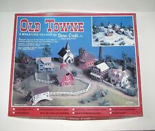 Vintage Dura-Craft Old Towne Miniature Village HO Scale Kit, 8 Wood Structures