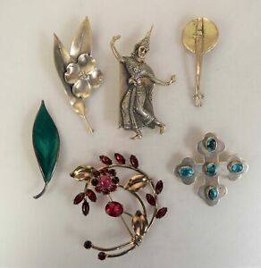 Lot of 6 Sterling Silver Brooches