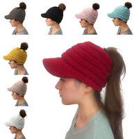Warm Women's Woolen Baseball Cap Messy Bun Ponytail Beanie Winter Knit Hole Hats