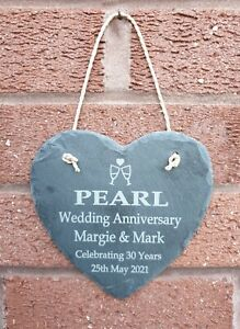Personalised Anniversary Slate Heart Engraved Plaque Sign Any Name Pearl Ruby