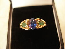 9 CARAT GOLD SAPPHIRE, EMERALD AND DIAMOND RING BRAND NEW IN BOX MADE IN ENGLAND