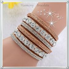 Tan Classic Swarovski Elements Wrap Slake Bracelet by Harmony Bracelets