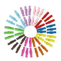 50pcs Mini Multicolor Wooden Clothe Photo Paper Peg Clothespin Craft Clips Set
