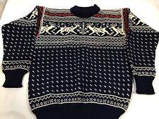 VINTAGE 1970's LL BEAN Wool Norway Sweater Deer Holiday  Womens Mens Small