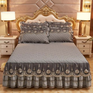 Luxury Bedspreads and 2PCS PillowcaseThick Cotton Bed Skirt with Queen King Size