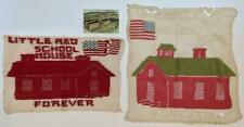 POLITICAL LOT of 3, LITTLE RED SCHOOL HOUSE w US FLAG DOILIES & FACTORY POSTCARD