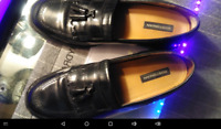 Bostonian Mens Wing Tip  Brogue Tassle BLACK Leather Loafers First Flex 10.5 W