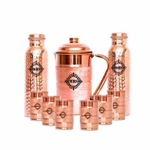 Copper Jug, Bottle and Glass Set - 9 Pieces, Brown, 1500 ml, 1000 ml, 300 ml
