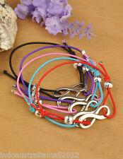 6 x Mix Color Elastic Adjustable Bracelets with Silver Infinity Pendant(JB00746)