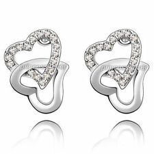 White Gold Love & Hearts Costume Earrings