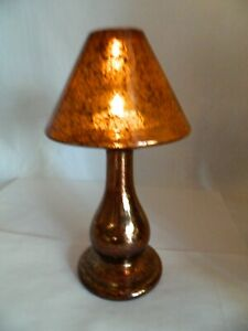 Glass Crackled Copper Amber Brown Table Desk Lamp Battery Operated Tea Light