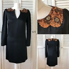 Monsoon Black Adelaide Bronze/Gold Sequin Evening Party Dress 8 RRP £150