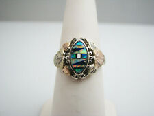 b472 Beautiful Silver with 10kt Yellow and Rose Gold Accented Opal Ring