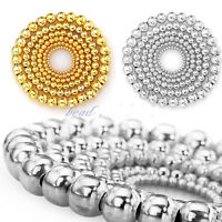 New Fashion Silver Gold Plated Round Spacer Smooth Loose Beads Charms Findings