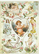Carta di riso per Decoupage Decopatch Scrapbook Craft sheet vintage shabby pitturare Angels