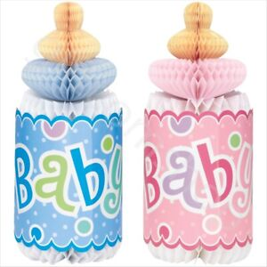 """12"""" Blue & Pink Baby Bottle Honeycomb Table Decor Baby Shower Party Decorations"""