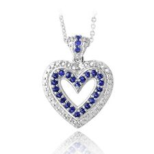 Silver Tone Created Sapphire & Diamond Accent Open Heart Necklace, 18""
