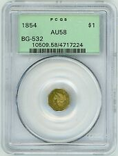 1854 California Fractional Gold $1 BG-532 PCGS AU 58