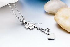 Drop Love Heart & Bell Lucky Four Leaf Clover Pendant Necklace Stainless Steel