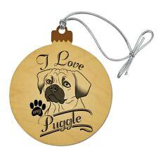 I Love My Puggle Wood Christmas Tree Holiday Ornament
