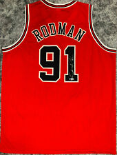 Chicago Dennis Rodman Signed Red Jersey Auto - BAS Beckett