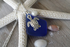 Handmade in Hawaii Cobalt sea glass necklace Sea turtle charm Natural pearl gift